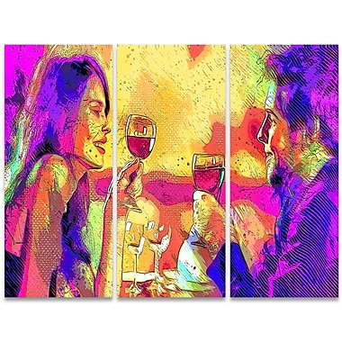 Designart Cheers 3-Panel Sensual Canvas Art Print, (PT2916-36 - 28)