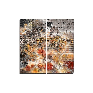 Designart Orange Combat Street Art Canvas Artwork, (PT3634-1-40-40)