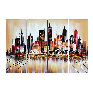Designart Brown Cityscape Oil Painting, 4 Panels, (OL1172)