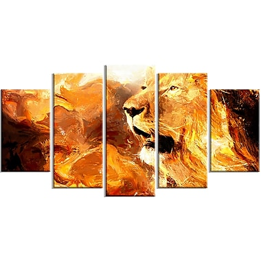 Designart Roar in the Wild 5-Panel Lion Canvas Art Print, (PT2467-373)