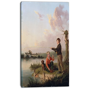 Designart Edmund Bristow, The Young Anglers Canvas Art Print, 3 Panels, (PT4317-16-32)