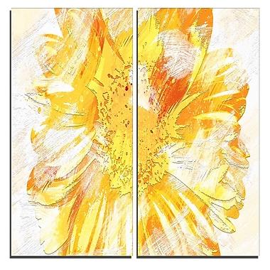 Designart – Art imprimé sur toile, fleur jaune, 40 larg. x 40 haut. (po), 2 panneaux (PT3420-2-40-40)