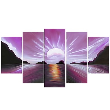 Design Art Brilliant Sunset, 5 Piece Gallery-wrapped Canvas Print, (PT119-PINK)