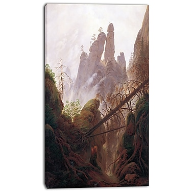 Designart Caspar David Friedrich, Rocky Landscape Canvas Art Print, 3 Panels, (PT4215-16-32)