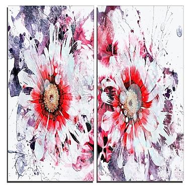 Designart – Art imprimé sur toile, marguerites orange et blanches, 40 larg. x 40 haut. (po), 2 panneaux (PT3407-1-40-40)