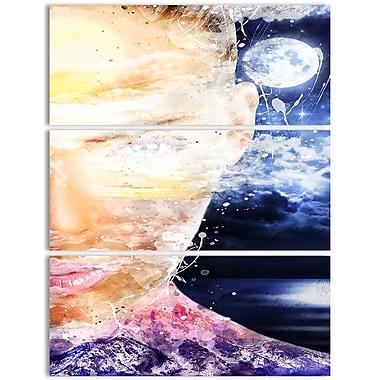 Designart – Art de rue sur toile, clair de lune à travers son regard (PT3611-3P)
