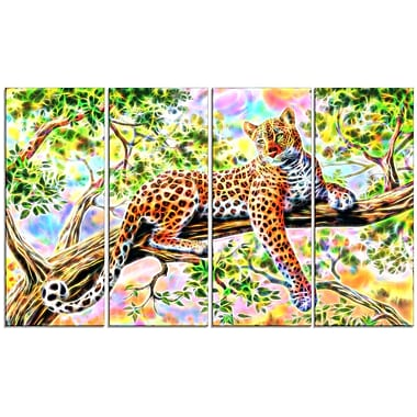 Designart Watchful Cheetah 4-Panel Canvas Art Print, (PT2428-271)
