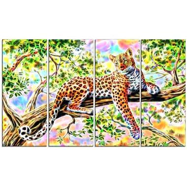 Design Art – Chimpanzé attentif, impression sur toile 4 panneaux