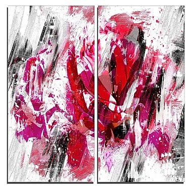 Designart Red Rose Art Canvas Art Print, 40