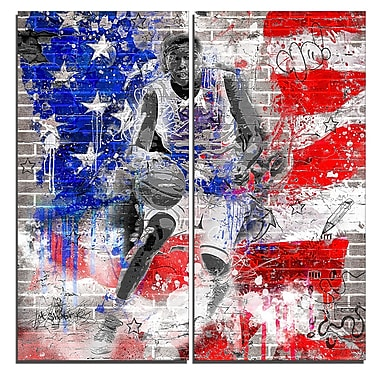 Designart American Basketball Street Art Canvas Artwork, (PT3635-40-40)