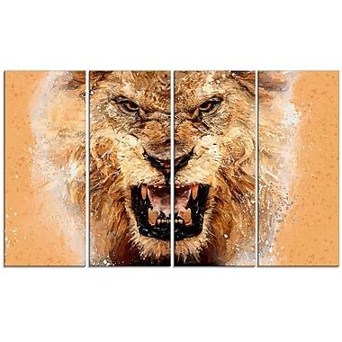Designart No Fear Ferocious Lion 4-Panel Canvas Art Print, (PT2468-271)