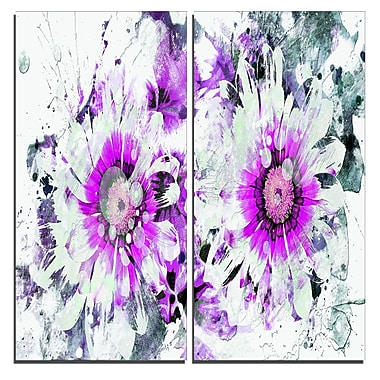 Designart Purple and White Daisies Canvas Art Print, 40