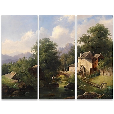 Designart Fishing in the Creek 3-Panel Canvas Art Print, (PT4003-36-28)