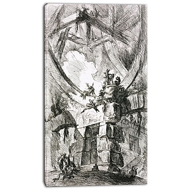 Designart Giovanni Battista Piranesi, Imaginary Prison Canvas Art Print, 3 Panels, (PT4447-20-40)