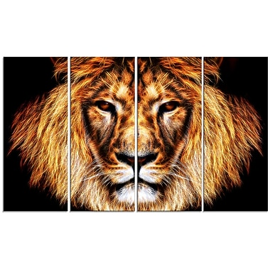 Designart Hear Him Roar 4-Panel Lion Canvas Art Print, (PT2437-271)