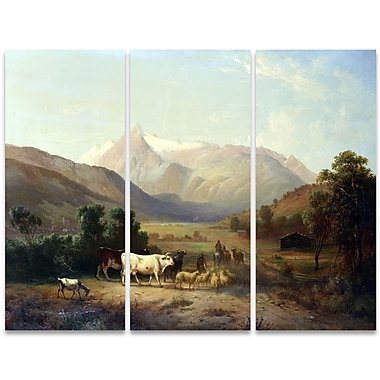 Designart A Day on the Ranch 3-Panel Canvas Art Print, (PT4012-36-28)