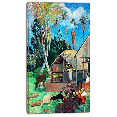 Designart Paul Gauguin, The Black Pigs Canvas Art Print, 3 Panels, (PT4797-20-40)