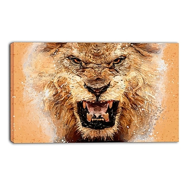 Designart No Fear Ferocious Lion Canvas Art Print, (PT2468-32-16)
