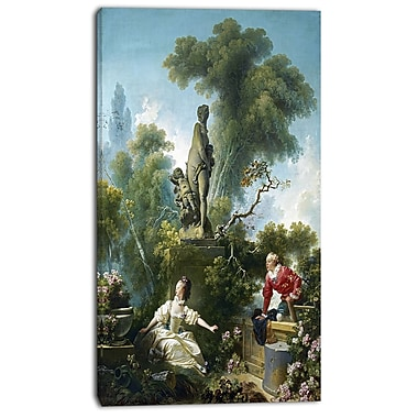 Designart Jean-Honore Fragonard, The Meeting Canvas Art Print, 3 Panels, (PT4587-20-40)