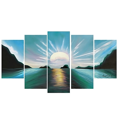 Design Art Brilliant Sunset, 5 Piece Gallery-wrapped Canvas Print, (PT119-TURQUOISE)