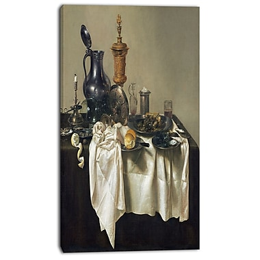 Designart Willem Claesz H, Banquet Piece with Mince Pie Canvas Art Print, (PT4994-16-32)