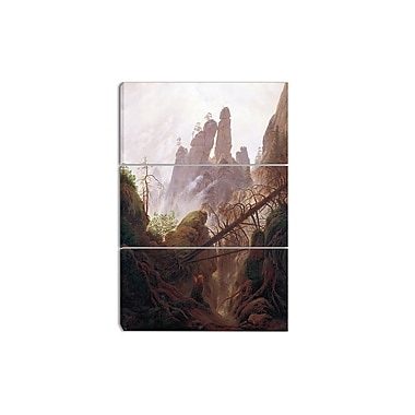 Designart Caspar David Friedrich, Rocky Landscape Canvas Art Print, 3 Panels, (PT4215-3P)