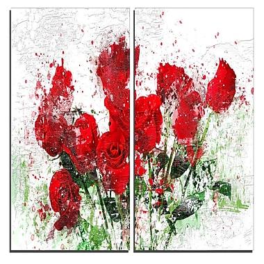 Designart – Art imprimé sur toile, lit de roses, 40 larg. x 40 haut. (po), 2 panneaux (PT3408-40-40)