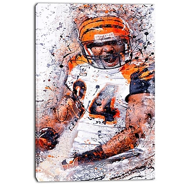 Designart Enthusiastic Football Player Street Art Canvas Artwork, (PT3612-24-40)