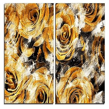 Designart – Art imprimé sur toile, jardin de roses jaunes, 40 larg. x 40 haut. (po), 2 panneaux (PT3430-4-40-40)