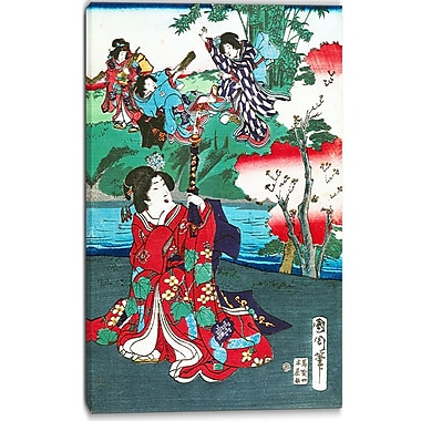 Designart Toyohara Kunichika, The Tale of Gejni Large Asian Canvas Art, (PT4979-16-32)