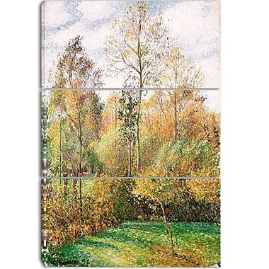 Designart –Imprimé sur toile, Automne, Peupliers, Eragny de Camille Pissarro, 3 panneaux (PT4188-3P)