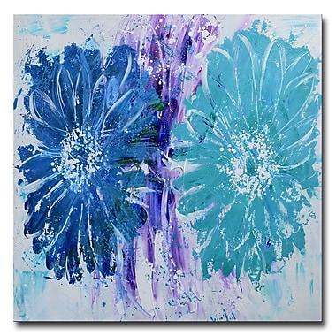 Designart,Aqua Bouquet- Hand Painted, 40 x 40, (OL3401-40-40)
