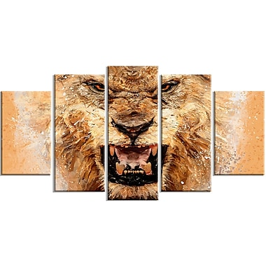 Designart No Fear Ferocious Lion 5-Panel Canvas Art Print, (PT2468-373)