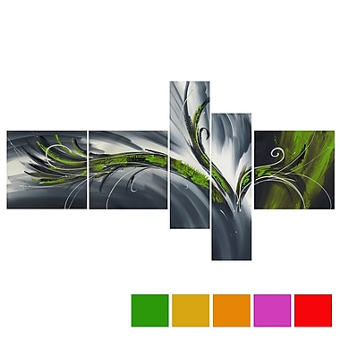 Design Art Abstract Thought, 5 Piece Gallery-wrapped Canvas Print Art, (PT143-GREEN)