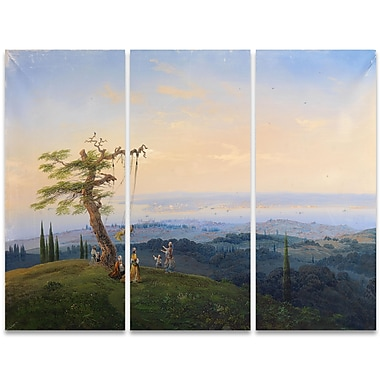 Designart Reach for the Stars 3-Panel Women on a Swing Scene Canvas Art Print, (PT4004-36-28)