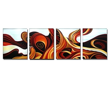 Designart Blue & Browns Abstract Oil Paint on Canvas, 4 Piece, (OL252)
