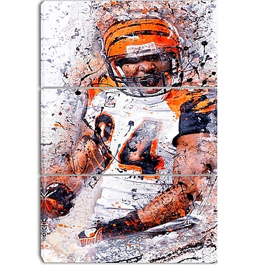 Designart Enthusiastic Football Player Street Art Canvas Artwork, (PT3612-3P)