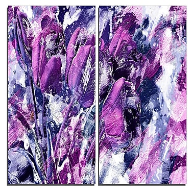 Designart Shades of Purple Flowers Canvas Art Print, 40