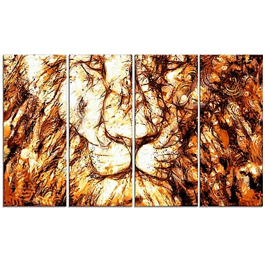Designart Wisdom in His Eyes 4-Panel Lion Canvas Art Print, (PT2461-271)