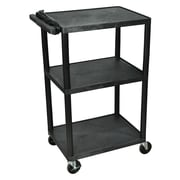 "Luxor LP Series 42"" 3-Shelf Presentation Cart, Black, (LP42E-B)"