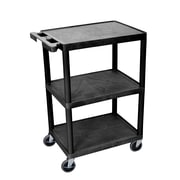 "Luxor 3-Shelf Utility Cart, 24""x18"", Black, (HE34-B)"
