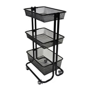 Luxor 3-Shelf Kitchen Utility Cart, Black, (KUC-BK)