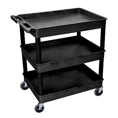 Luxor 3 Shelf Tub Cart, Black, (TC111-B)