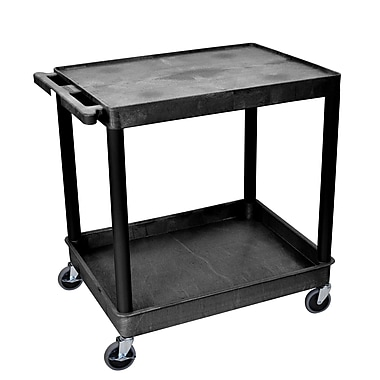 Luxor Flat Top/Tub Bottom Shelf Cart, Black, (TC21-B)
