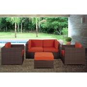 International Home Miami St.Tropez 5 Piece Deep Seating Group w/ Cushions; Orange