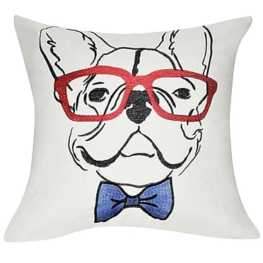 Loom and Mill Dog Decorative Throw Pillow; Cream