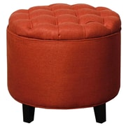 New Pacific Direct Avery Round Tufted Storage Ottoman; Persimmon by