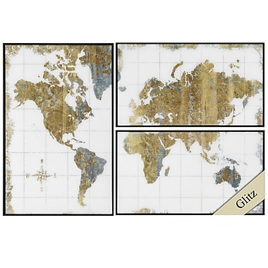 Propac Images Gilded Map 3 Piece Framed Graphic Art Set
