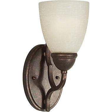 Forte Lighting 1-Light Wall Sconce w/ Umber Linen Glass Shade in Black Cherry