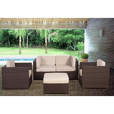 International Home Miami St.Tropez 5 Piece Deep Seating Group w/ Cushions; White